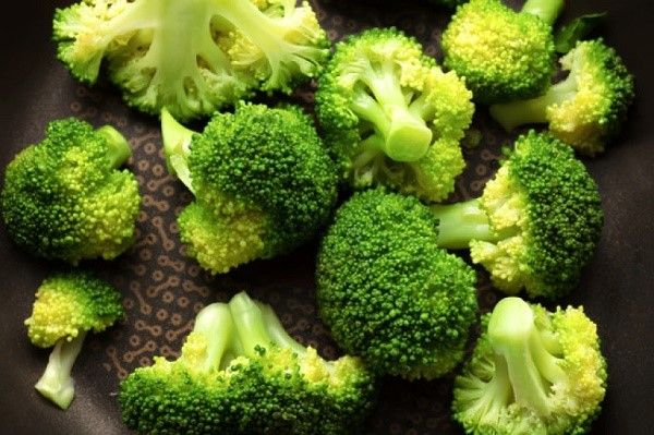 Broccoli closeup in pan