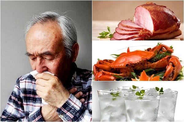 Người bệnh cũng cần tránh các đồ uống lạnh, thực phẩm chế biến sẵn, đồ ăn có vị tanh