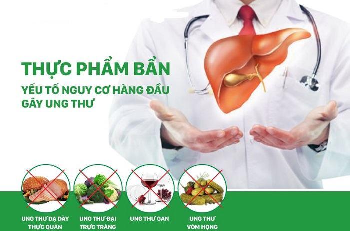 Các bệnh ung thư thường gặp do thực phẩm gây ra là ung thư dạ dày - thực quản, đại trực tràng, gan, vòm họng